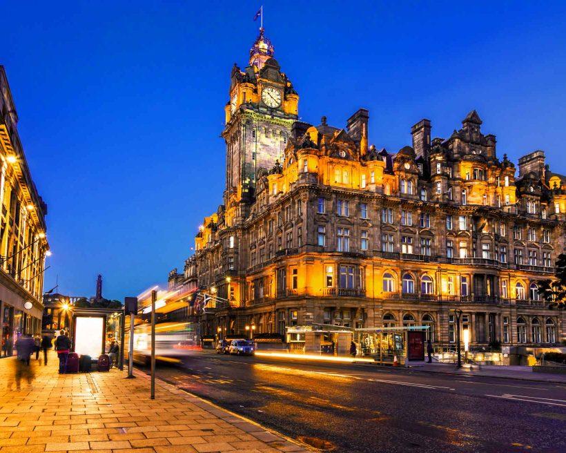 Edinburgh, Scotland, at night with light trails of street traffic