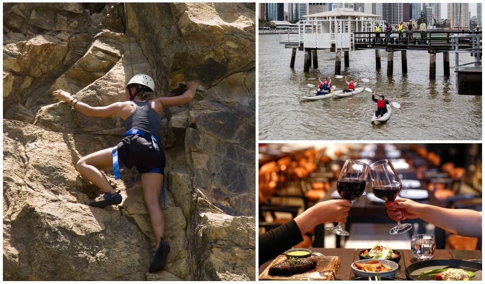 Rock Climber at Kangaroo Point, Kayaking at Brisbane River, Romantic dinner