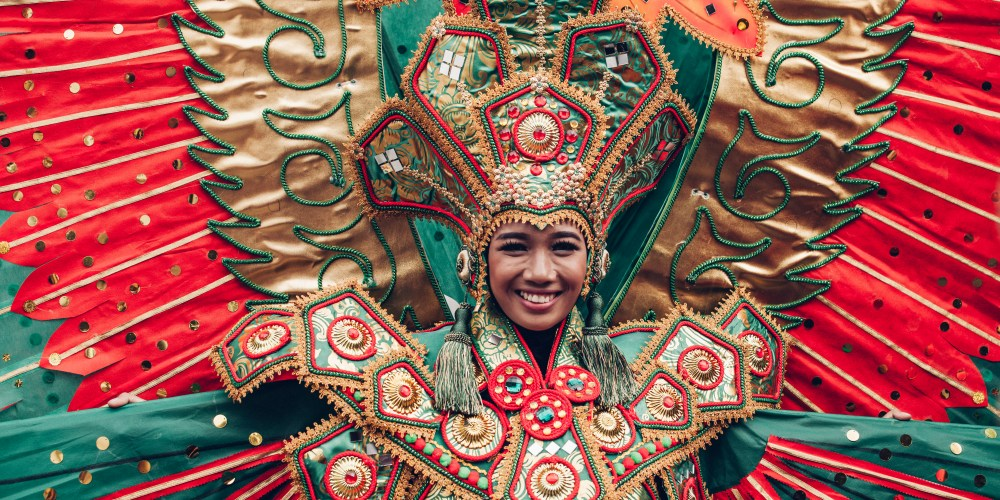 woman in traditional Indonesian costume of Garuda