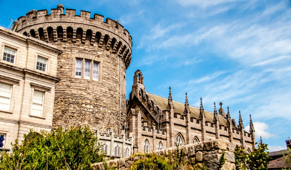 Panoramic view of a strong tower of the Dublin castle
