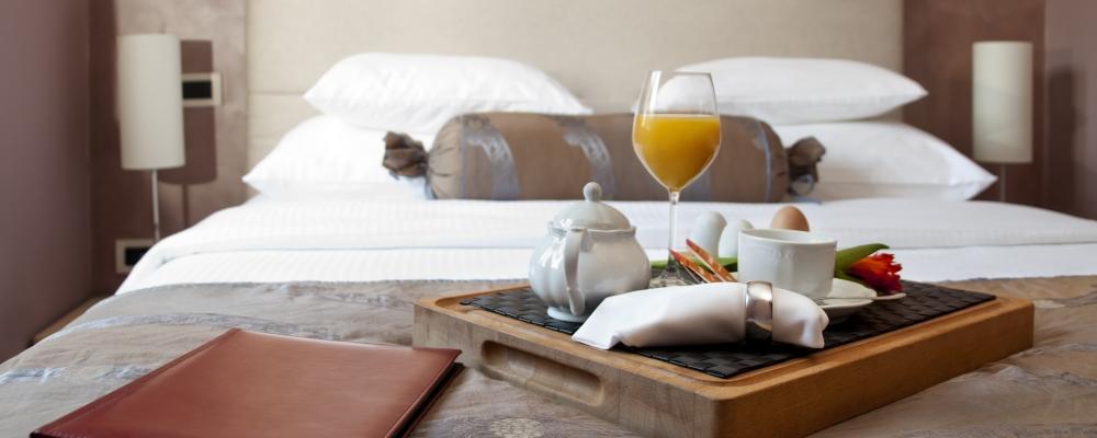Breakfast in luxury hotel room