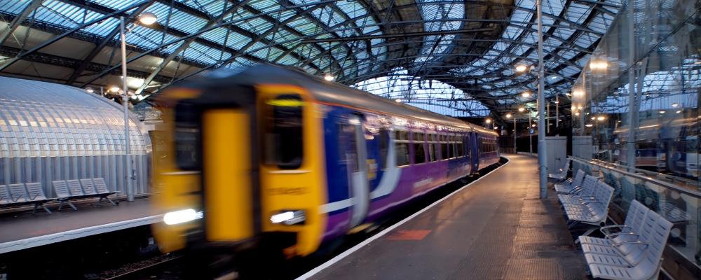 Liverpool train station motion blur