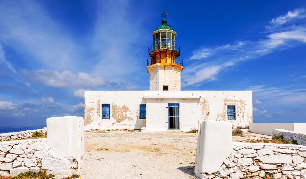 Armenistis lighthouse on the island of Mykonos