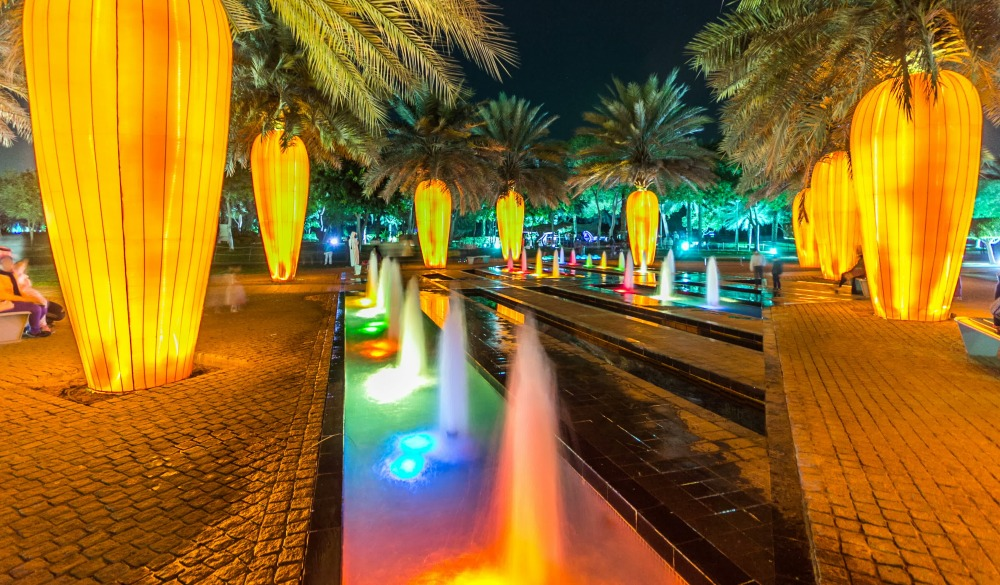 Dubai Glow Garden day to night transition