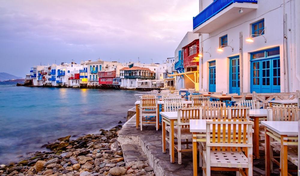 Beautiful sunrise at Little Venice on Mykonos island, Cyclades, Greece;