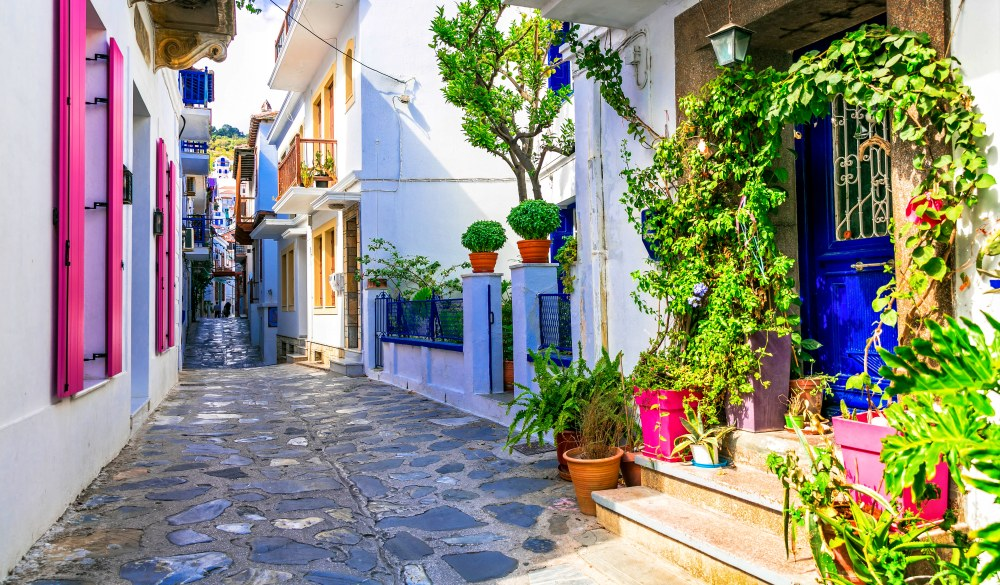 charming colorful streets with traditional bars and taverns