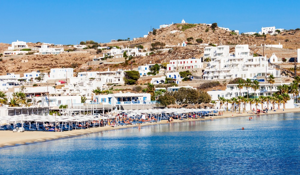 Ornos beach on the Mykonos island,