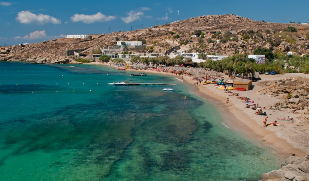 Paradise beach of Mykonos, Greece. Sunny with blue sky and crystal clear water;