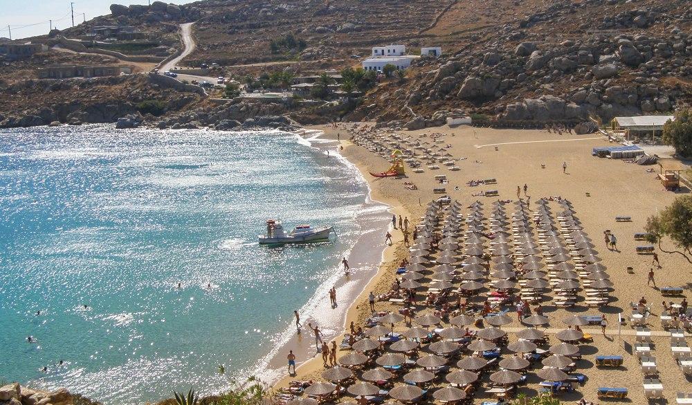 Super paradise beach in Mykonos island,