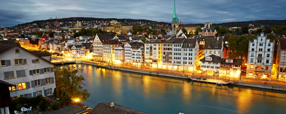 rooftops of Zurich Alstadt (old town) and the Limmat river