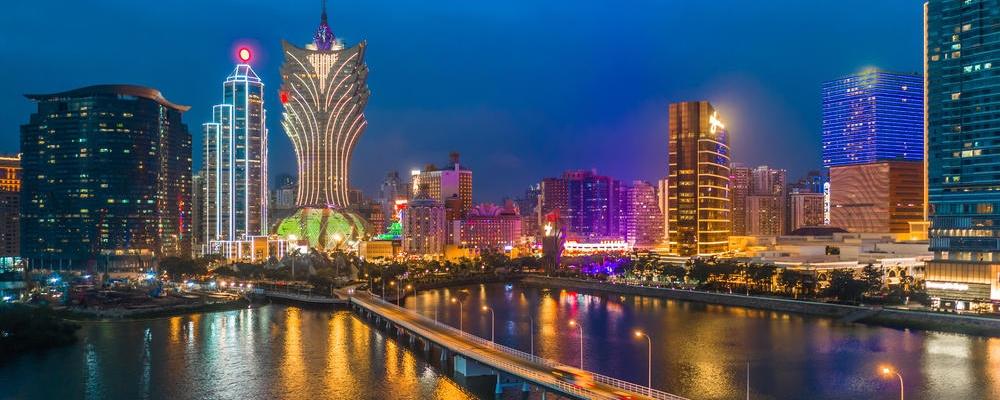 Macau cityscape at night, all hotel and casino are colorful