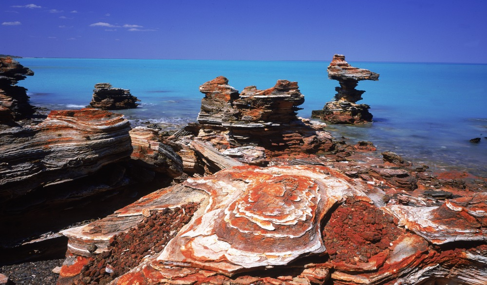 eroded rock formations, roebuck bay, on coast south of broome, wa, australia