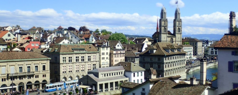view on the Niederdorf, the Limmat and the Great Minister