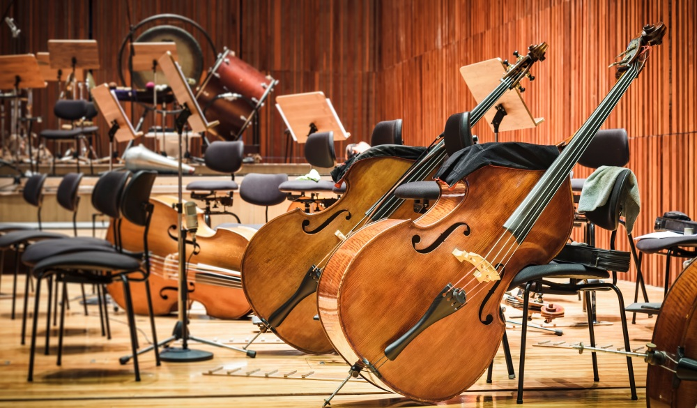 Cello Music instruments on a stage, Boston Historical Site