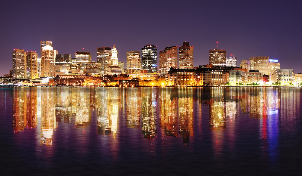 Boston harbor City Night Lights with Reflections