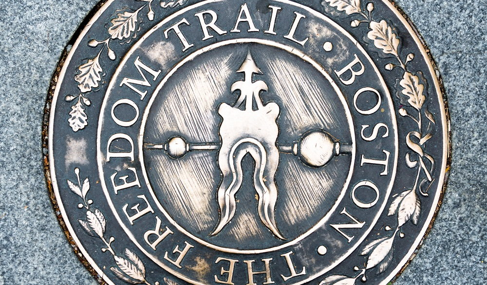 Historic place to visit in Boston:, Massachusetts: Bronze path Mark along historic Freedom Trail