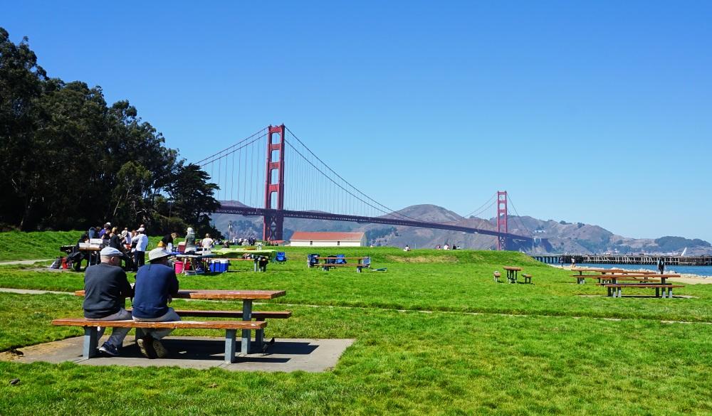 Crissy Field with Golden Gate bridge view