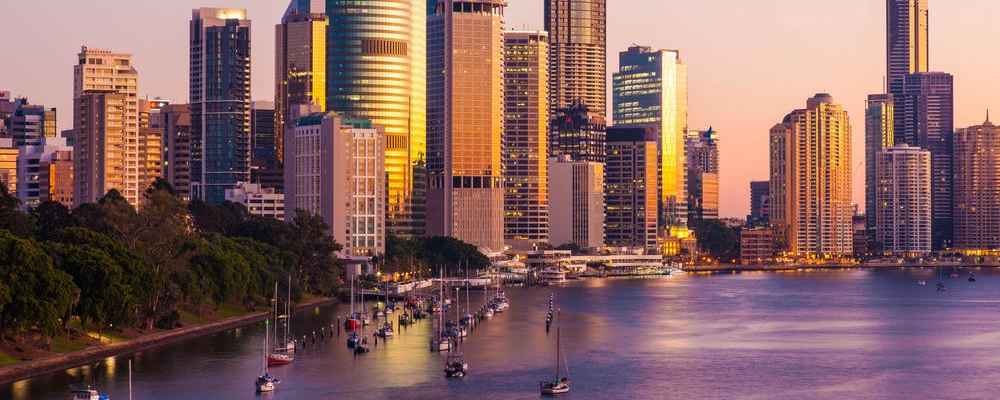 The morning light reflects off the buildings in Brisbane CBD