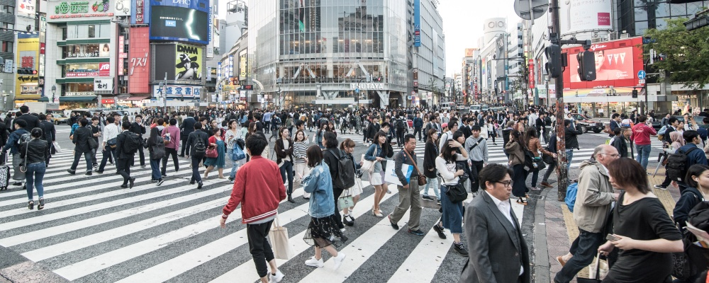 The famous Shibuya crossing in Tokyo