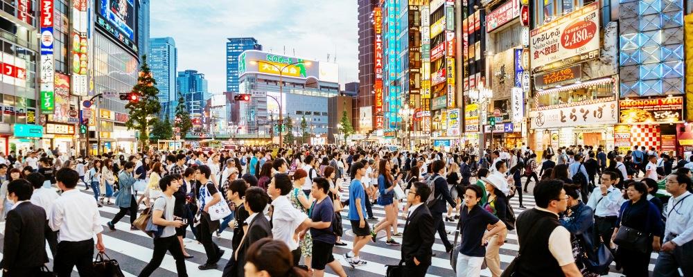 Zebra crossing in Shinjuku, Tokyo