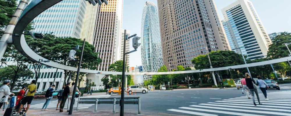 Pedestrian crossing in Shinjuku district, Tokyo, Japan