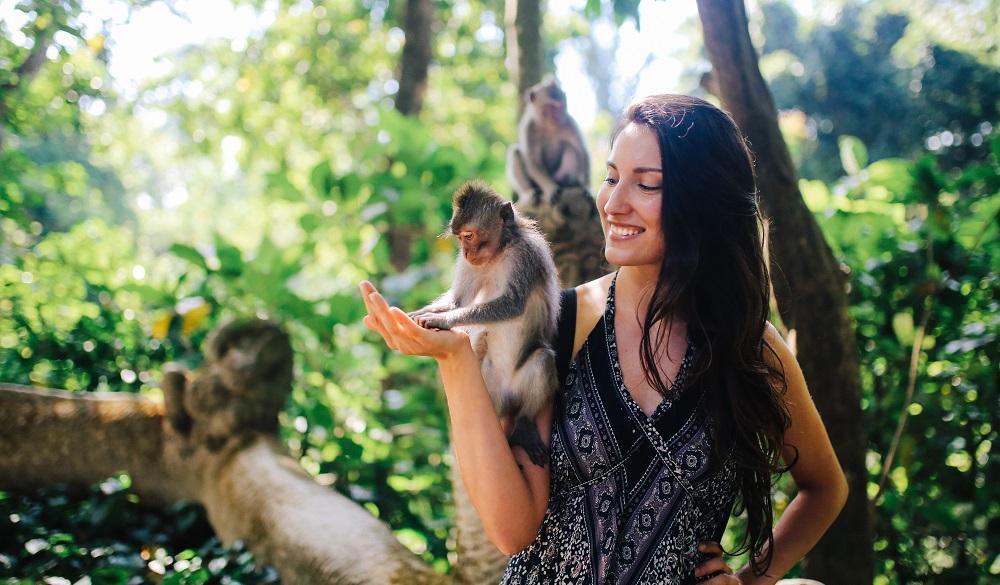 Ubud Monkey Forest, Bali Indonesia, Woman feeding monkey