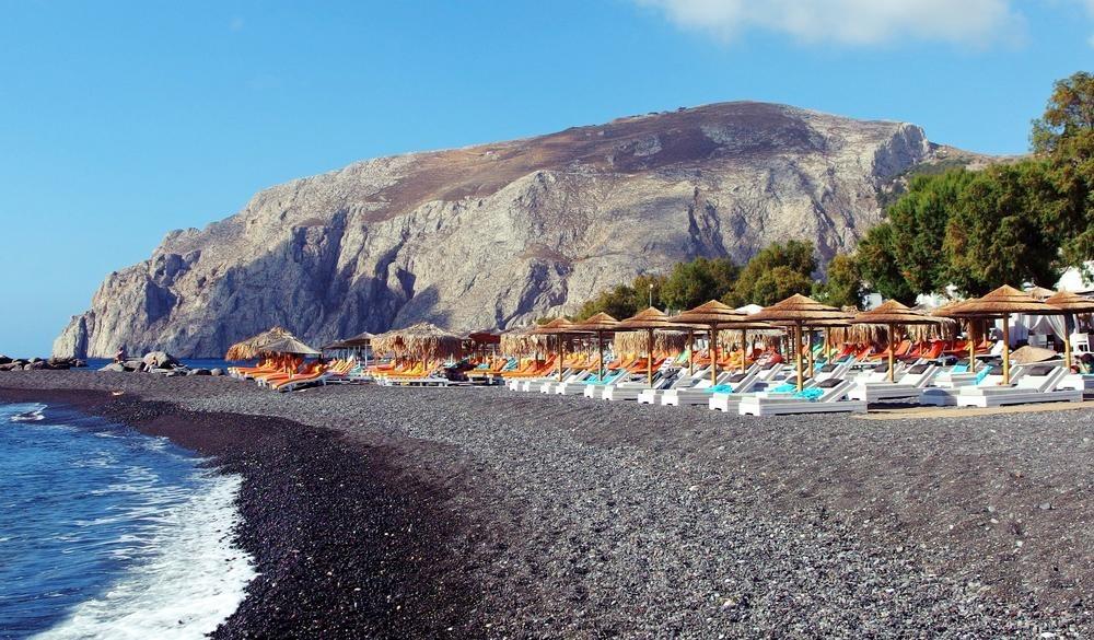beach in Kamari town on Santorini island,