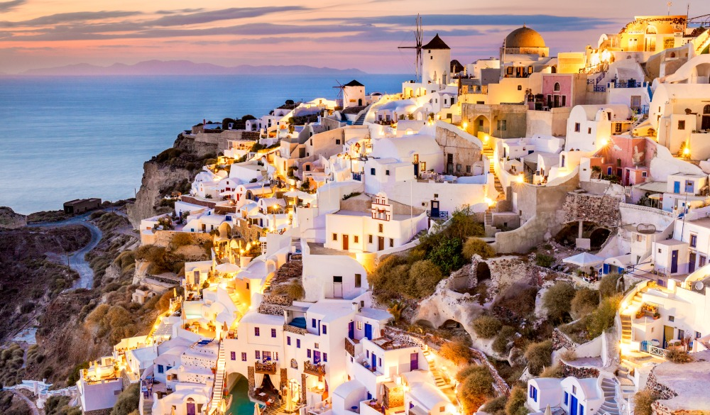 Landscape view of the Oia at sunset, Santorini, Greece.