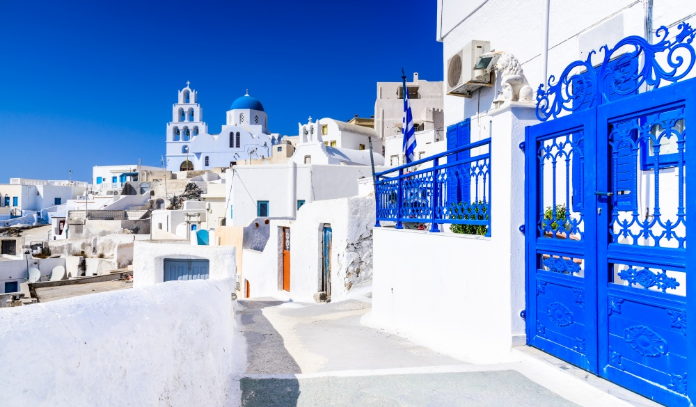 white village with cobbled street