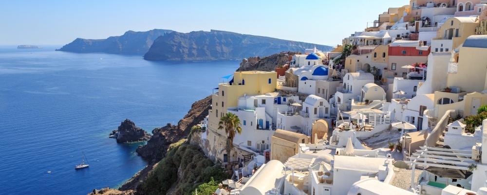 Cityscape of Oia village in Santorini island, Greece