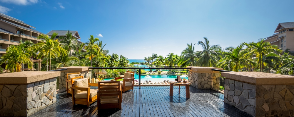 luxury hotel terrace with pool and sea view