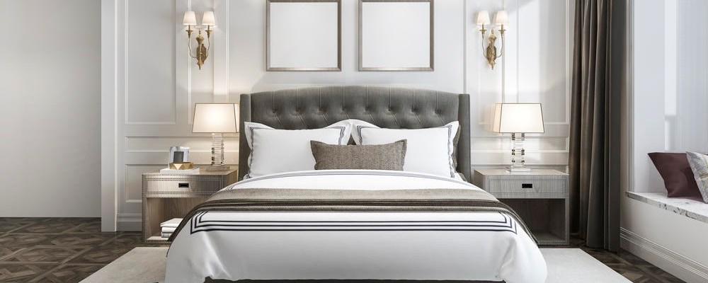 beautiful luxury bedroom suite in hotel