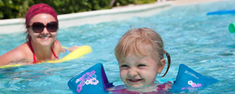 Little girl at the pool