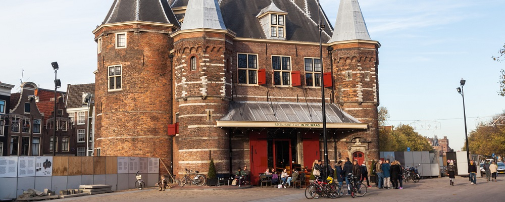 Historical building of The Waag in Amsterdam, Netherlands