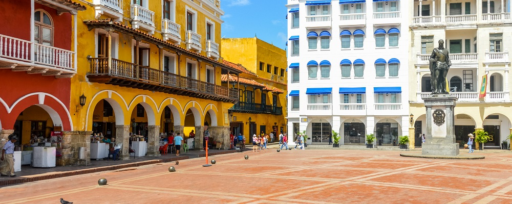 Colorful colonial architecture in Cartagena, Colombia