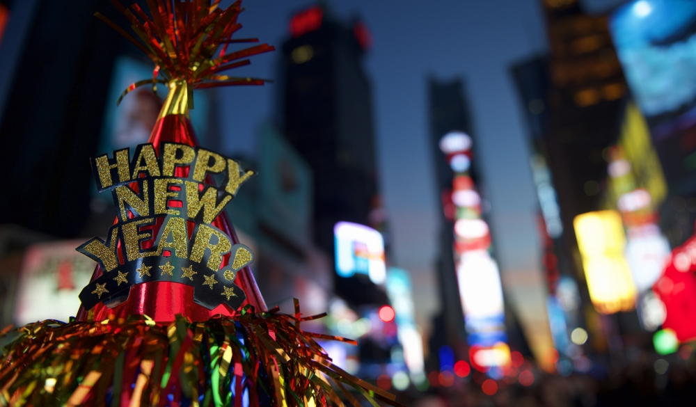 Happy New Year hat with colorful decoration in Times Square New York City;