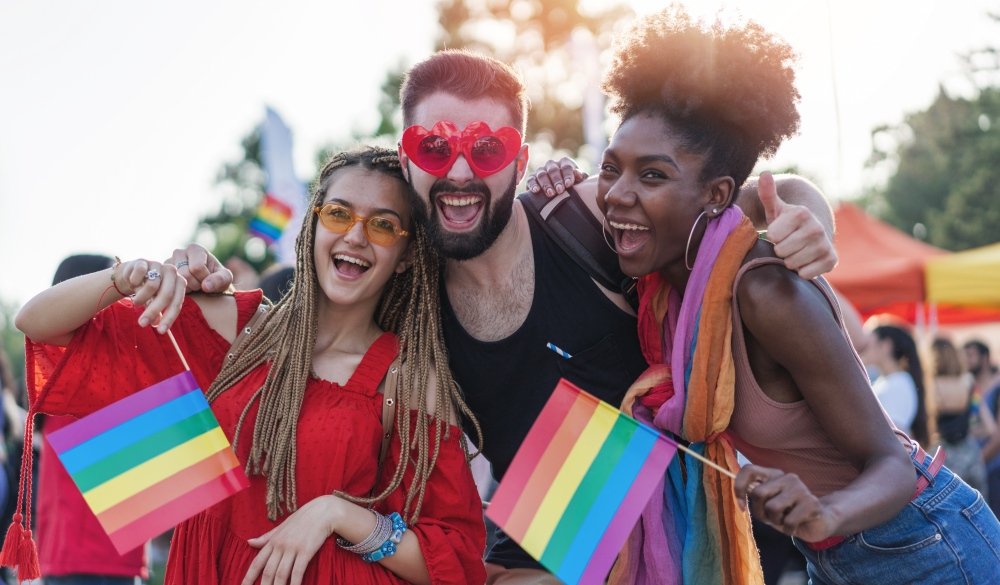 people celebrating the pride event,