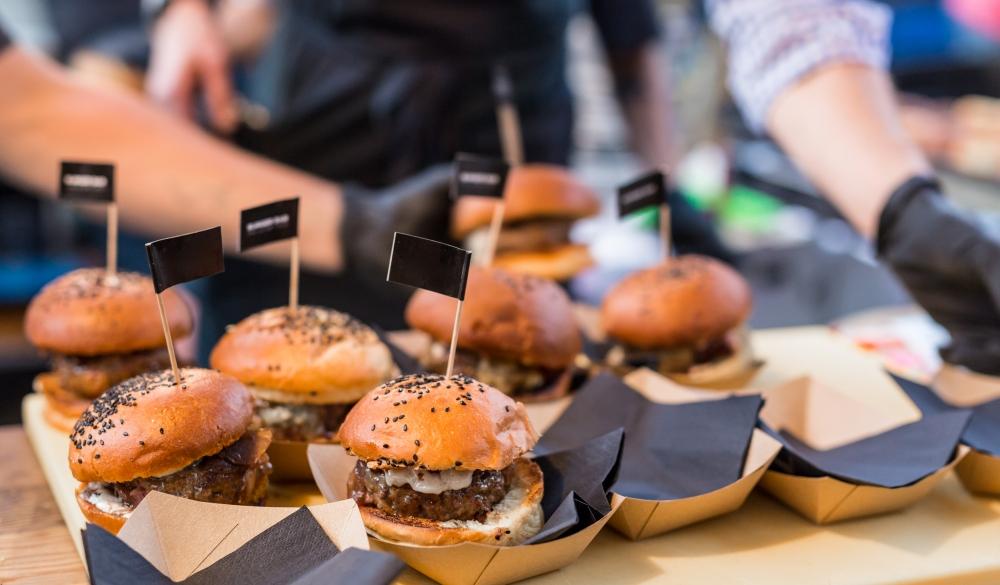 beef burgers outdoor on open kitchen