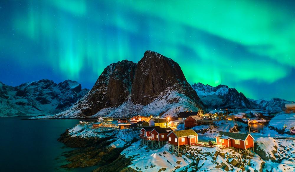 Colorful Aurora Borealis in Norway