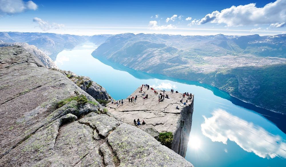 Norway lake and cliffs