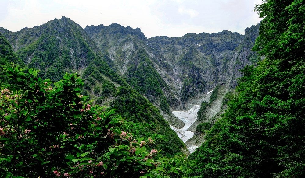 Rugged and green mountain scenery in Japan