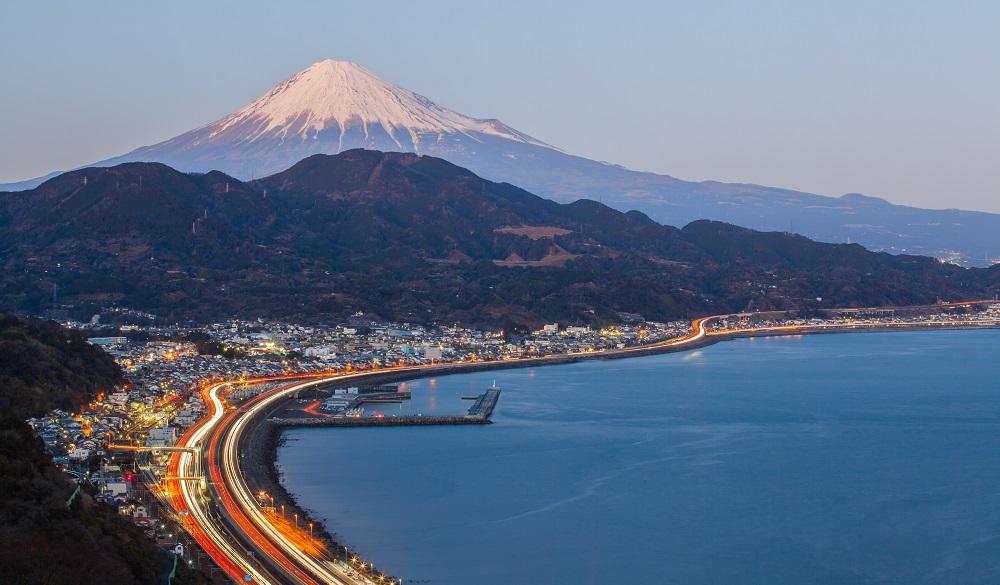 Tomai expressway and Suruga bay with mountain fuji at Shizuoka