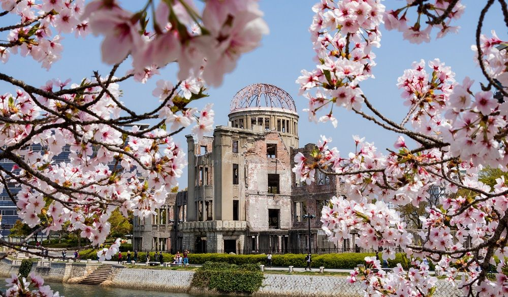 Hiroshima Atomic Bomb Dome and the cherry blossom