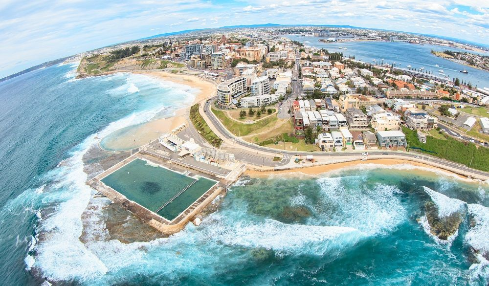 Aerial view of Newcastle beaches