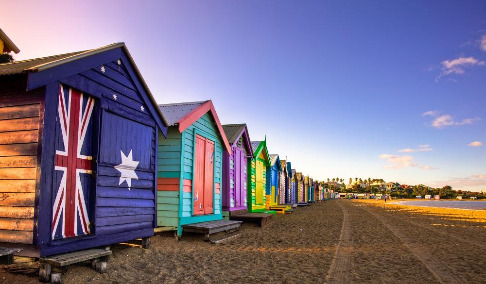 Beach huts in Brighton Beach, Victoria.