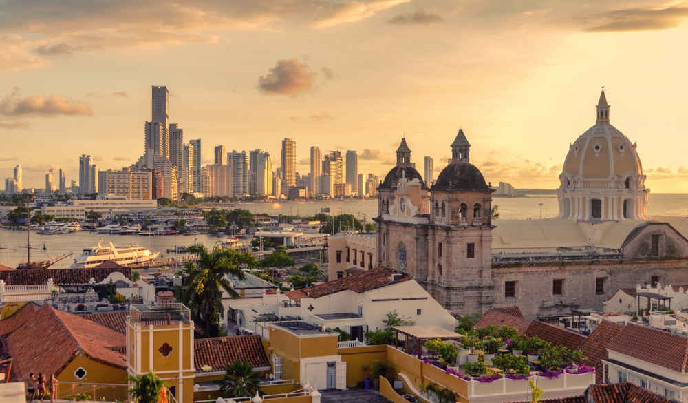 Beautiful sunset over Cartagena,