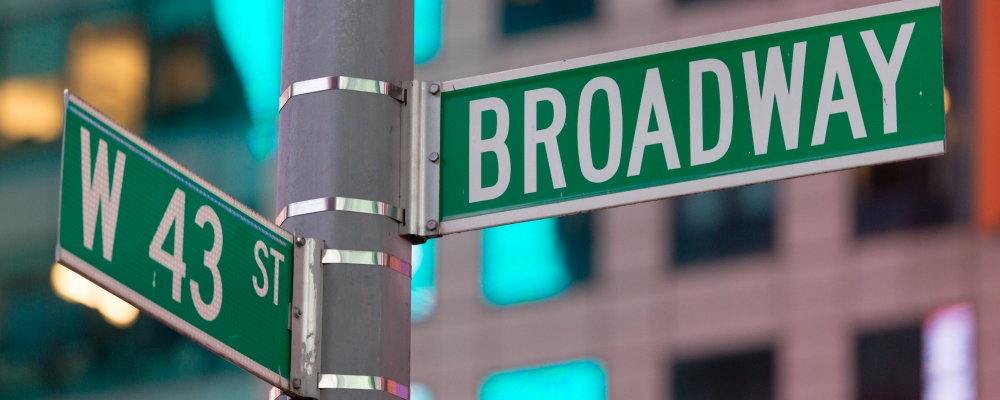 A Broadway and 43rd street sign in Times SquarE