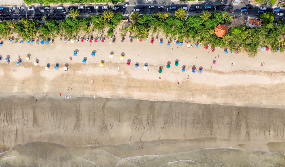 color umbrellas on the Kuta beach