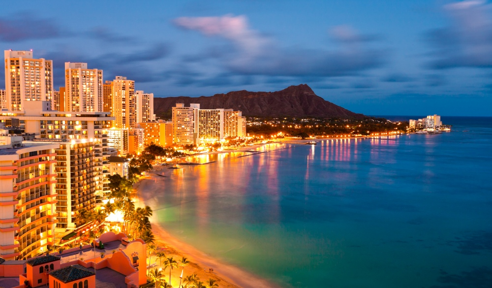 Waikiki Beach at dusk, Oahu, Hawaii Islands to visit