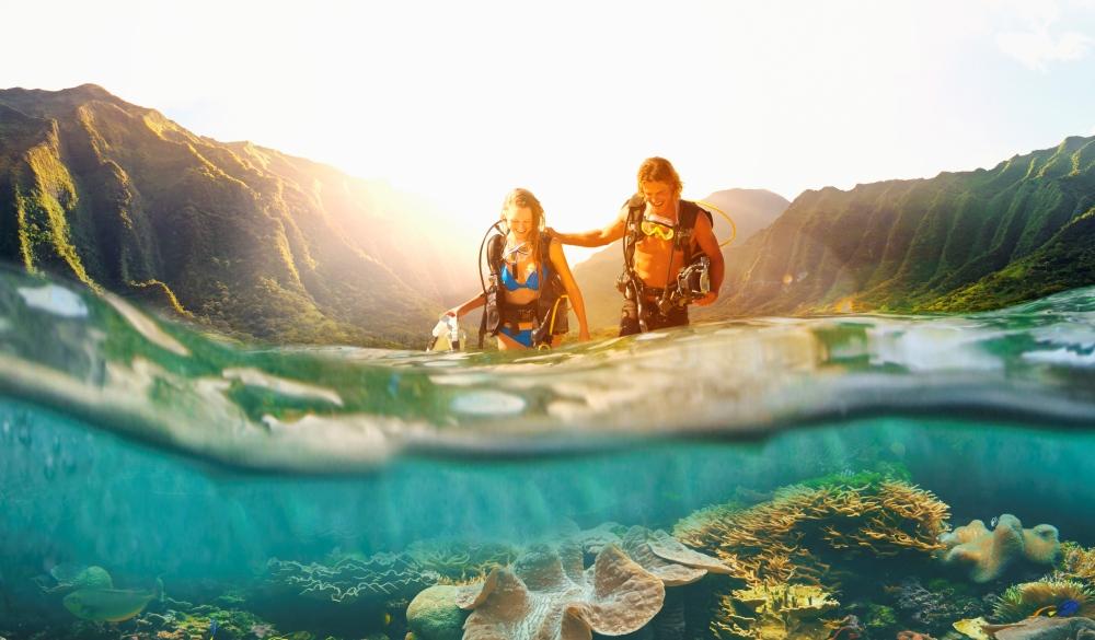 Scuba diver, Hawaiin Islands to visit